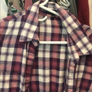 Pink and Purple Button-Up Flannel